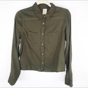 🍁 Japna Button Down Cropped Green